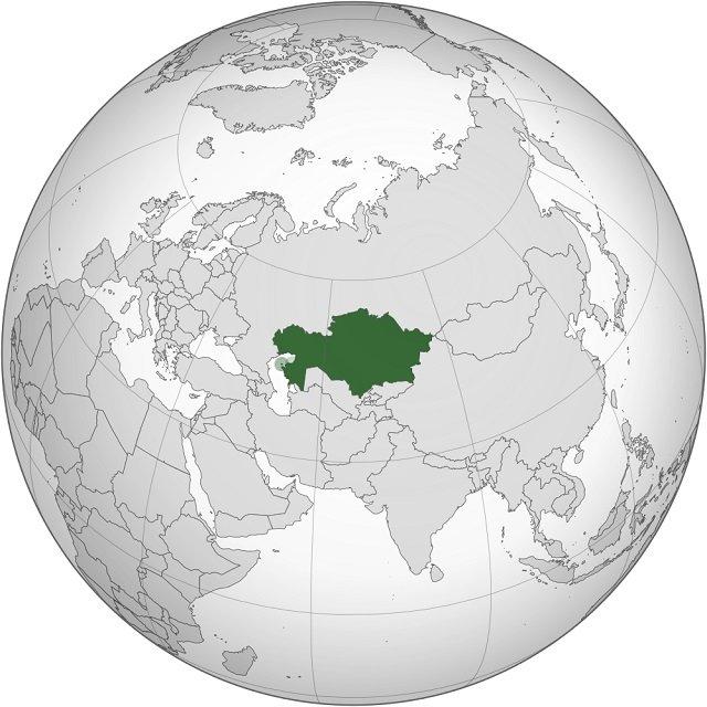Kazajistán en el mapa