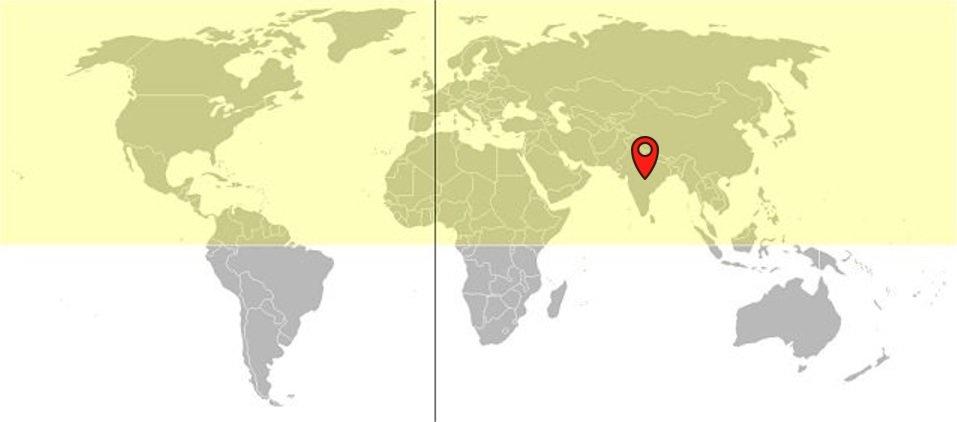 Ubicación de la India en el hemisferio norte